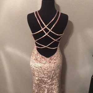 Rusty pink, backless, velvet gown